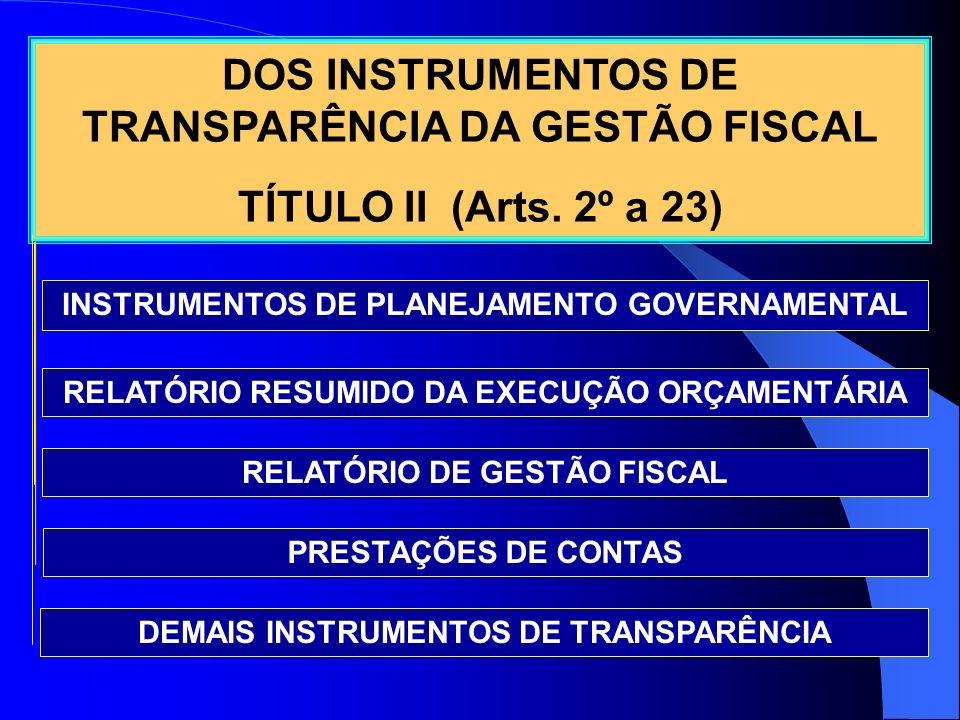 DOS INSTRUMENTOS DE TRANSPARÊNCIA DA GESTÃO FISCAL TÍTULO II (Arts. 2º a 23) RELATÓRIO RESUMIDO DA EXECUÇÃO ORÇAMENTÁRIA RELATÓRIO DE GESTÃO FISCAL IN