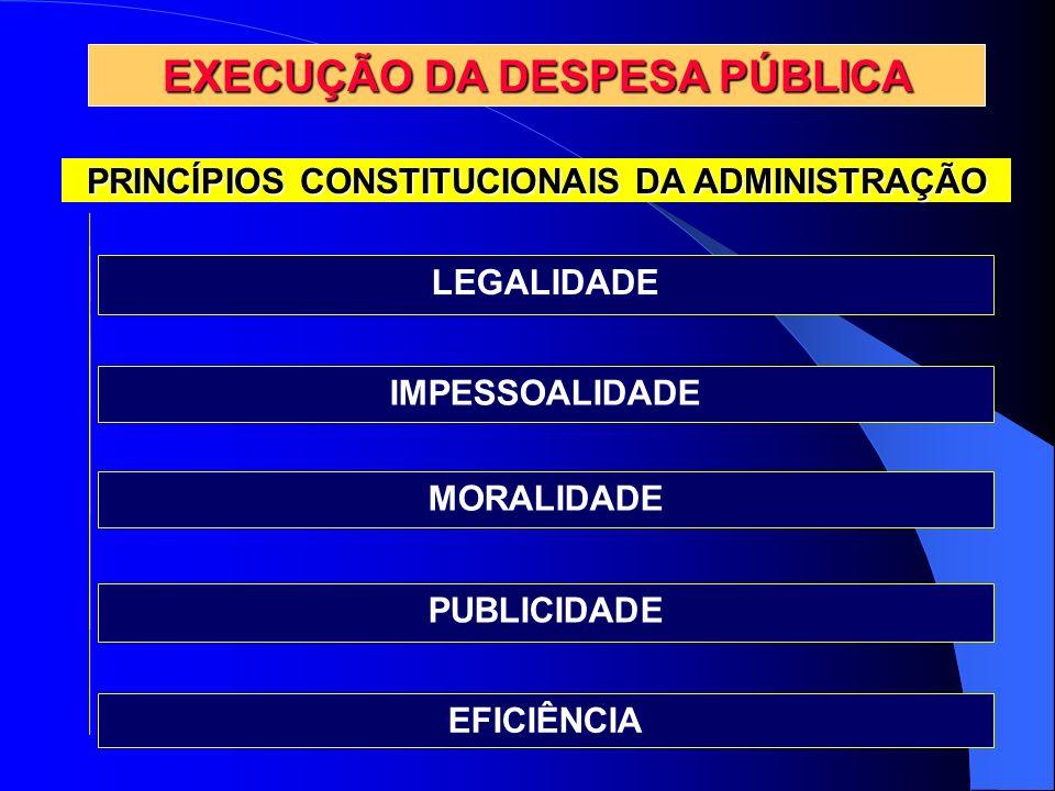 PRINCÍPIOS CONSTITUCIONAIS DA ADMINISTRAÇÃO EXECUÇÃO DA DESPESA PÚBLICA LEGALIDADE IMPESSOALIDADE MORALIDADE PUBLICIDADE EFICIÊNCIA