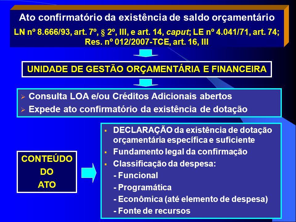 UNIDADE DE GESTÃO ORÇAMENTÁRIA E FINANCEIRA Consulta LOA e/ou Créditos Adicionais abertos Expede ato confirmatório da existência de dotação DECLARAÇÃO
