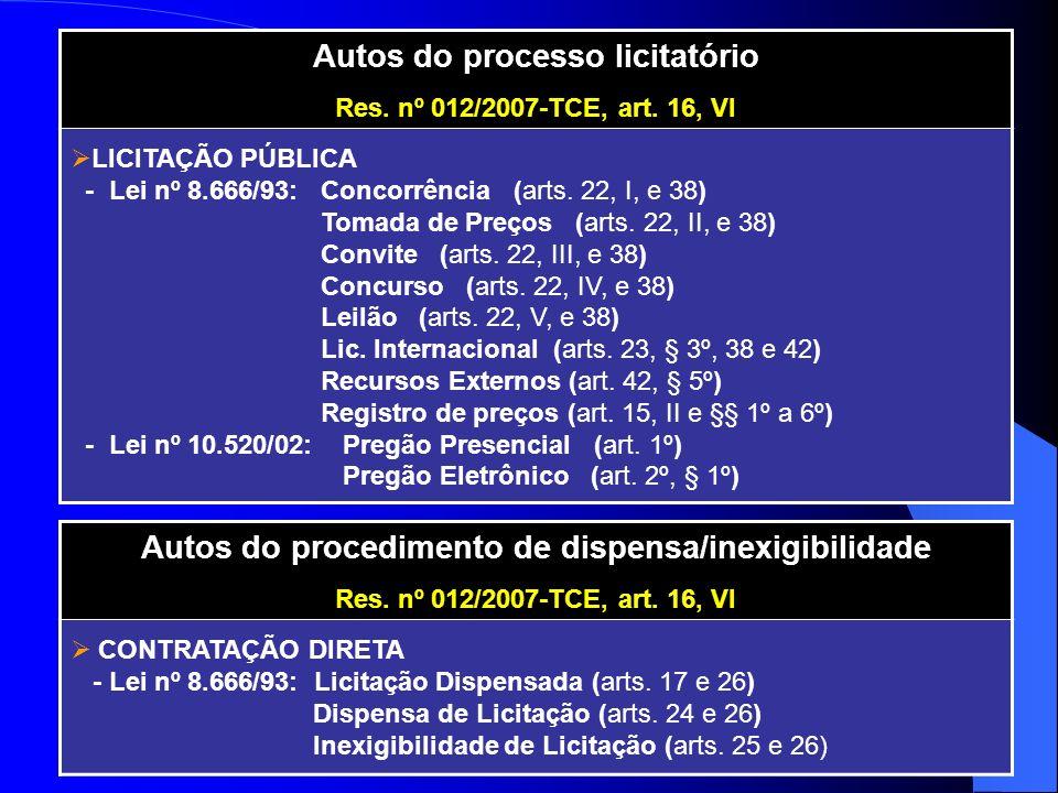 Autos do processo licitatório Res. nº 012/2007-TCE, art. 16, VI LICITAÇÃO PÚBLICA - Lei nº 8.666/93: Concorrência (arts. 22, I, e 38) Tomada de Preços