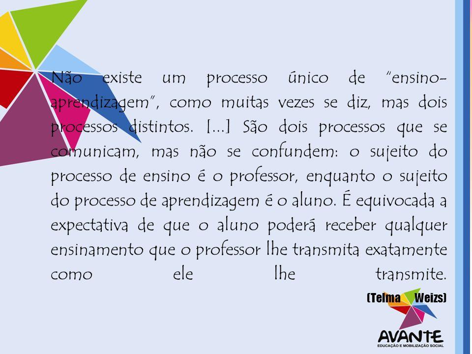 Não existe um processo único de ensino- aprendizagem, como muitas vezes se diz, mas dois processos distintos. [...] São dois processos que se comunica