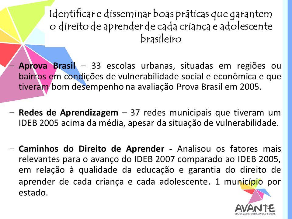 Identificar e disseminar boas práticas que garantem o direito de aprender de cada criança e adolescente brasileiro –Aprova Brasil – 33 escolas urbanas