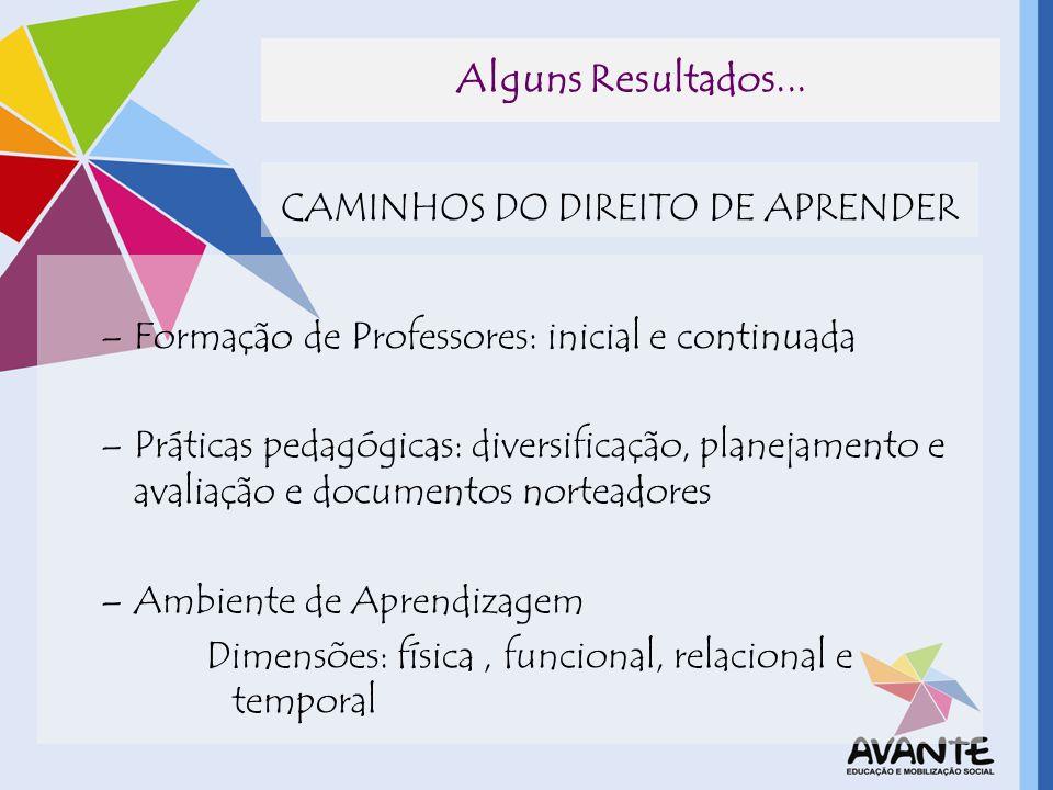 Alguns Resultados... CAMINHOS DO DIREITO DE APRENDER –Formação de Professores: inicial e continuada –Práticas pedagógicas: diversificação, planejament