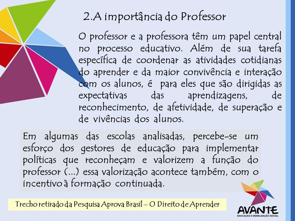 2.A importância do Professor O professor e a professora têm um papel central no processo educativo. Além de sua tarefa específica de coordenar as ativ