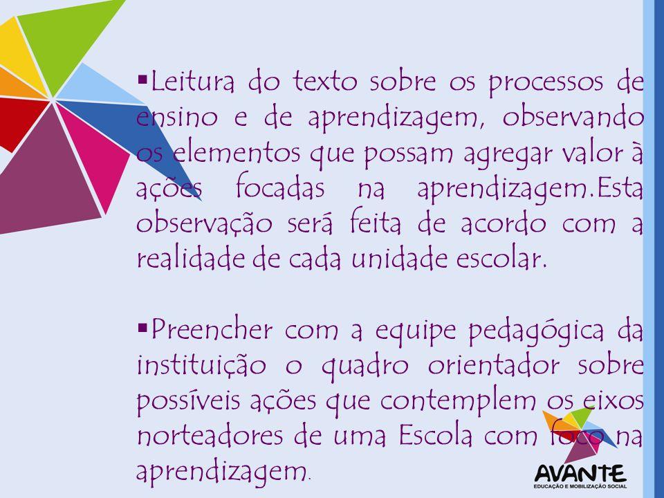 Leitura do texto sobre os processos de ensino e de aprendizagem, observando os elementos que possam agregar valor à ações focadas na aprendizagem.Esta