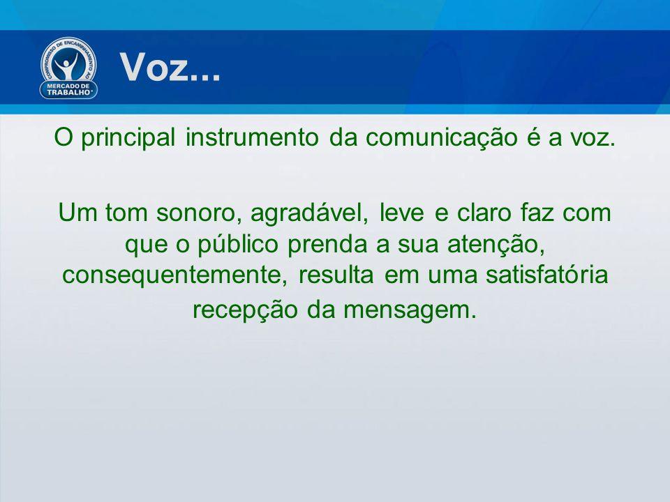 Voz... O principal instrumento da comunicação é a voz. Um tom sonoro, agradável, leve e claro faz com que o público prenda a sua atenção, consequentem