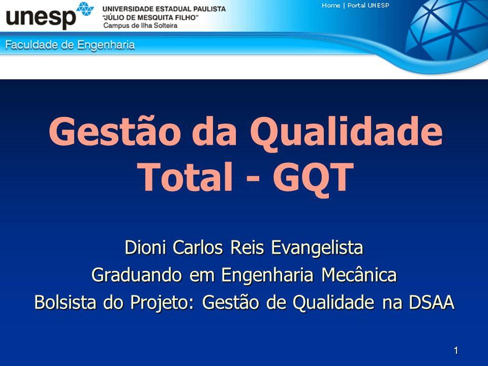 1 Dioni Carlos Reis Evangelista Graduando em Engenharia Mecânica Bolsista do Projeto: Gestão de Qualidade na DSAA Gestão da Qualidade Total - GQT
