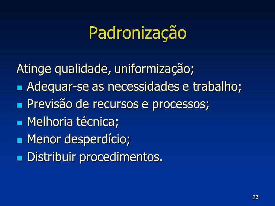 23 Padronização Atinge qualidade, uniformização; Adequar-se as necessidades e trabalho; Adequar-se as necessidades e trabalho; Previsão de recursos e