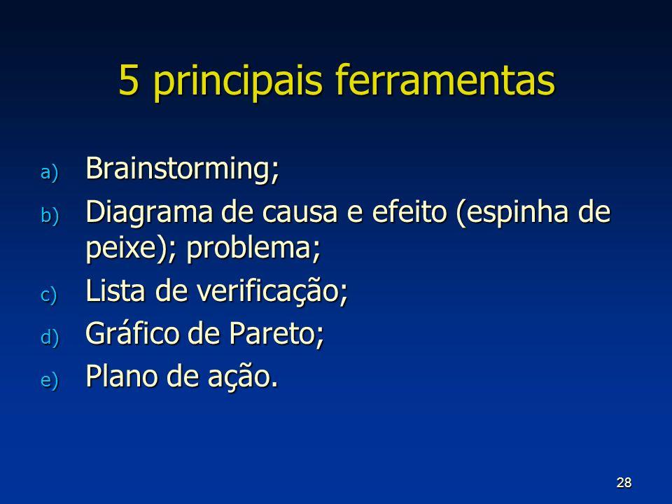 28 5 principais ferramentas a) Brainstorming; b) Diagrama de causa e efeito (espinha de peixe); problema; c) Lista de verificação; d) Gráfico de Paret