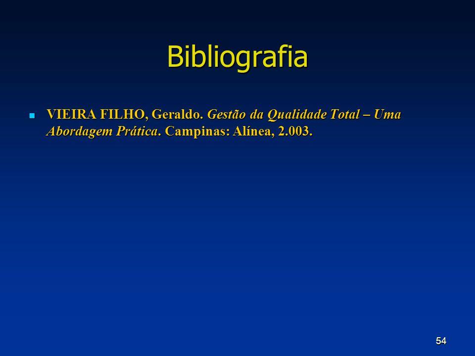 54 Bibliografia VIEIRA FILHO, Geraldo. Gestão da Qualidade Total – Uma Abordagem Prática. Campinas: Alínea, 2.003. VIEIRA FILHO, Geraldo. Gestão da Qu