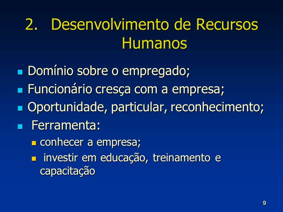 9 2.Desenvolvimento de Recursos Humanos Domínio sobre o empregado; Domínio sobre o empregado; Funcionário cresça com a empresa; Funcionário cresça com