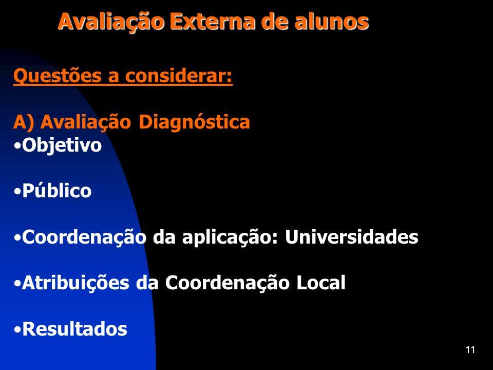 11 Avaliação Externa de alunos Questões a considerar: A) Avaliação Diagnóstica Objetivo Público Coordenação da aplicação: Universidades Atribuições da