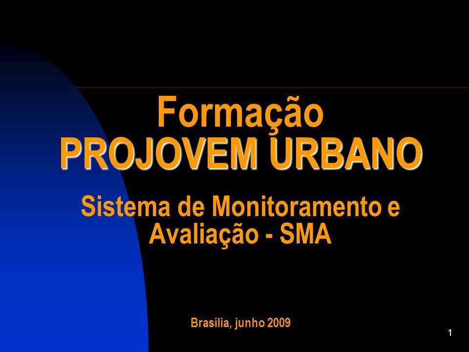 1 PROJOVEM URBANO Formação PROJOVEM URBANO Sistema de Monitoramento e Avaliação - SMA Brasília, junho 2009