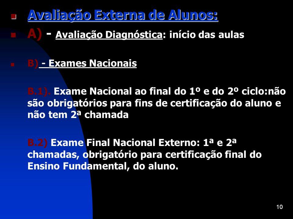 10 Avaliação Externa de Alunos: Avaliação Externa de Alunos: A) - Avaliação Diagnóstica: início das aulas B) - Exames Nacionais B.1). Exame Nacional a
