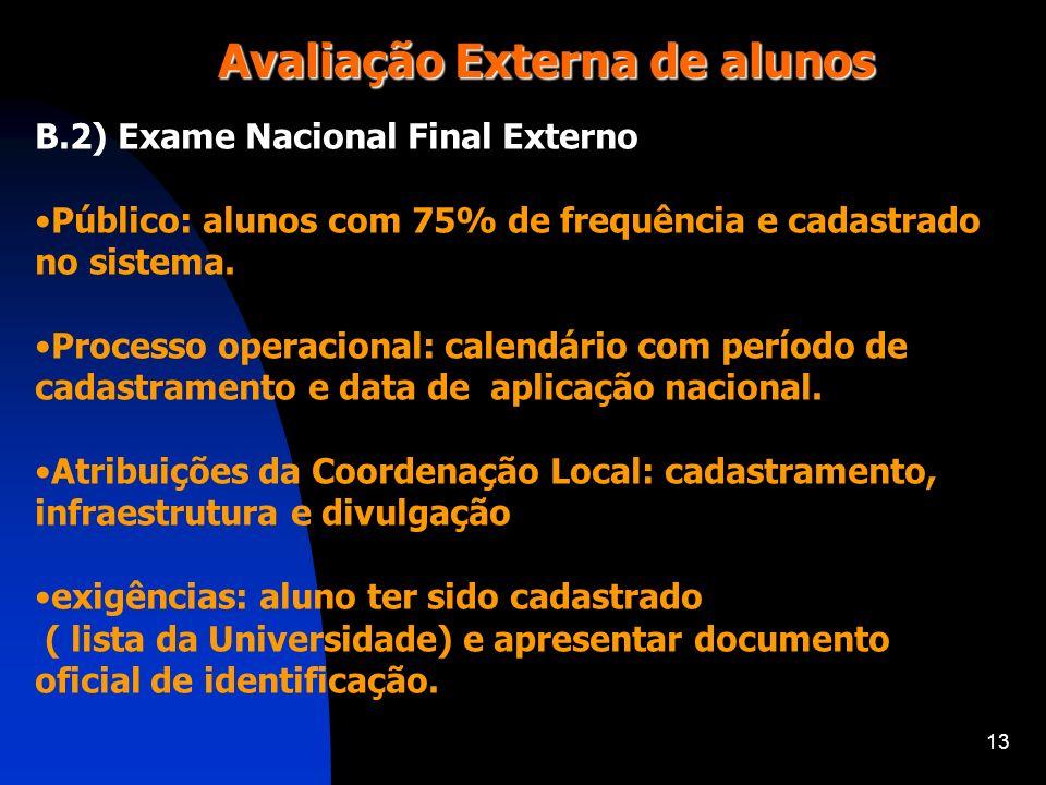 13 Avaliação Externa de alunos B.2) Exame Nacional Final Externo Público: alunos com 75% de frequência e cadastrado no sistema. Processo operacional: