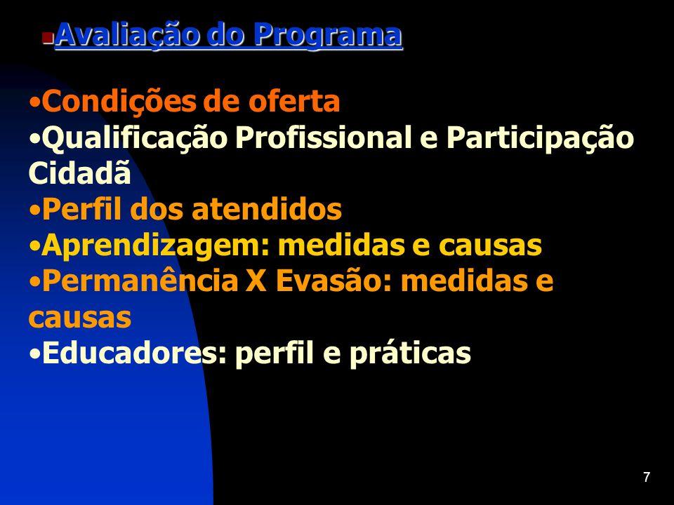 7 Avaliação do Programa Avaliação do Programa Condições de oferta Qualificação Profissional e Participação Cidadã Perfil dos atendidos Aprendizagem: m