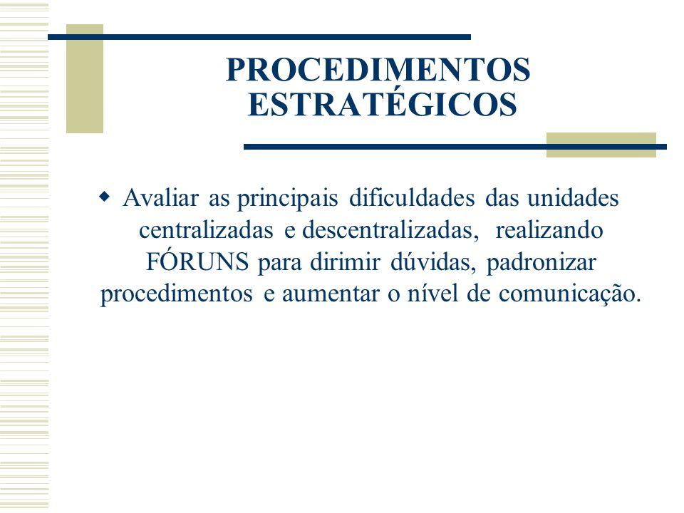 PROCEDIMENTOS ESTRATÉGICOS Avaliar as principais dificuldades das unidades centralizadas e descentralizadas, realizando FÓRUNS para dirimir dúvidas, p