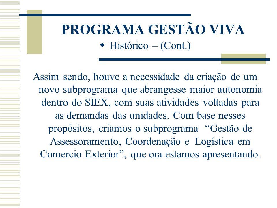PROGRAMA GESTÃO VIVA Histórico – (Cont.) Assim sendo, houve a necessidade da criação de um novo subprograma que abrangesse maior autonomia dentro do S