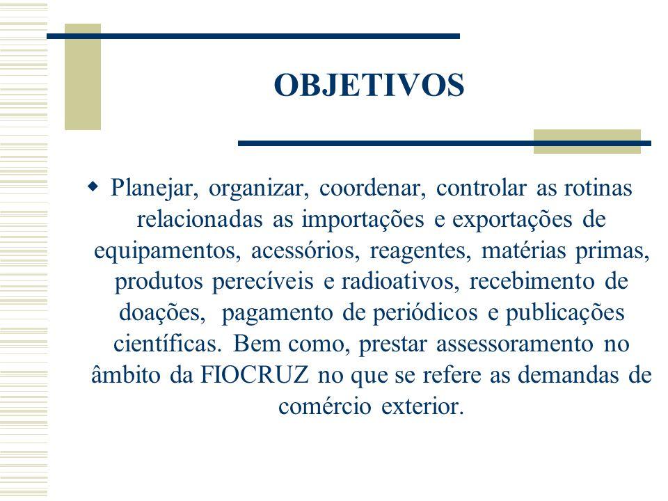 OBJETIVOS Planejar, organizar, coordenar, controlar as rotinas relacionadas as importações e exportações de equipamentos, acessórios, reagentes, matér