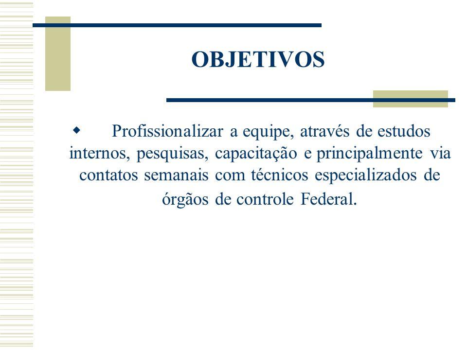OBJETIVOS Profissionalizar a equipe, através de estudos internos, pesquisas, capacitação e principalmente via contatos semanais com técnicos especiali