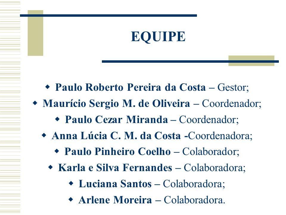 EQUIPE Paulo Roberto Pereira da Costa – Gestor; Maurício Sergio M. de Oliveira – Coordenador; Paulo Cezar Miranda – Coordenador; Anna Lúcia C. M. da C