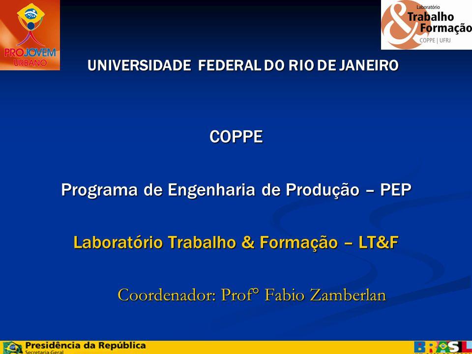 COPPE Programa de Engenharia de Produção – PEP Laboratório Trabalho & Formação – LT&F Coordenador: Prof° Fabio Zamberlan Coordenador: Prof° Fabio Zamb