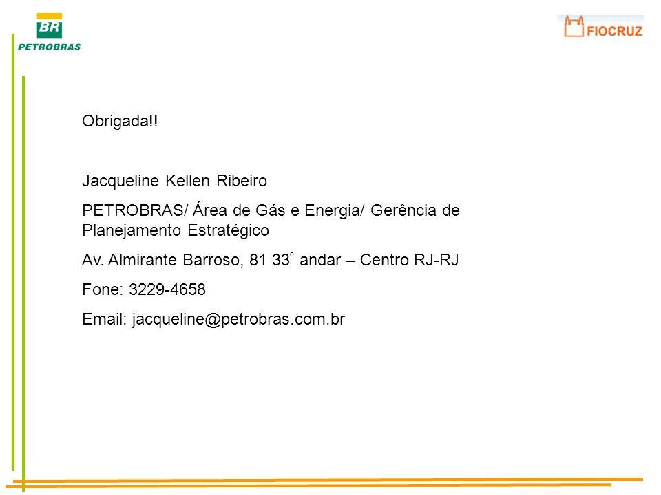 Obrigada!! Jacqueline Kellen Ribeiro PETROBRAS/ Área de Gás e Energia/ Gerência de Planejamento Estratégico Av. Almirante Barroso, 81 33 º andar – Cen