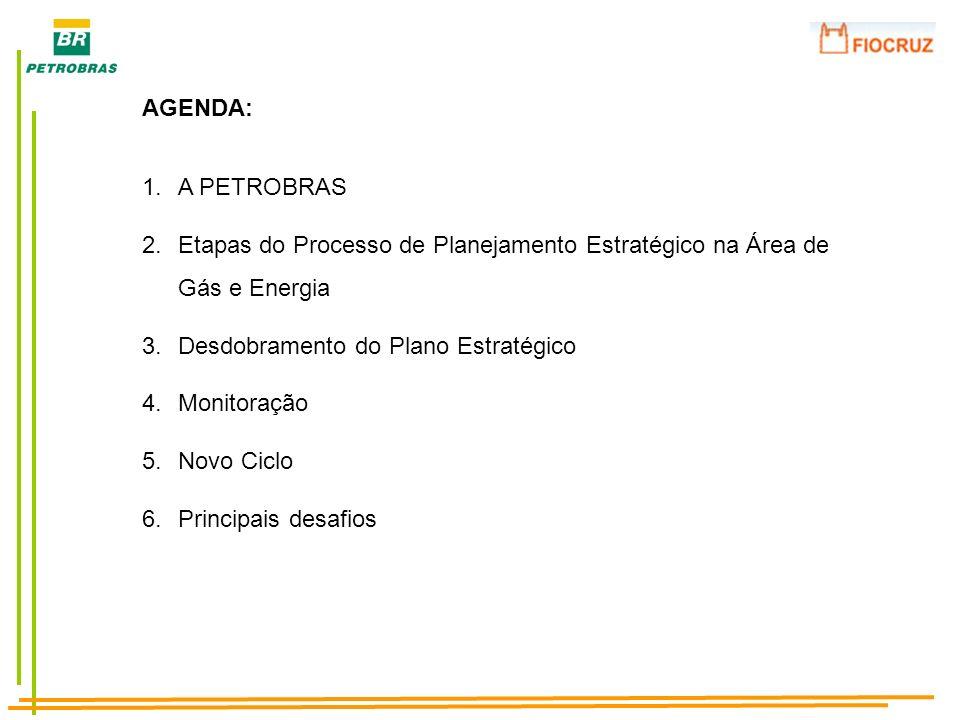 AGENDA: 1.A PETROBRAS 2.Etapas do Processo de Planejamento Estratégico na Área de Gás e Energia 3.Desdobramento do Plano Estratégico 4.Monitoração 5.N