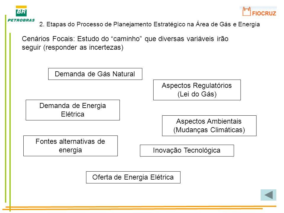 Cenários Focais: Estudo do caminho que diversas variáveis irão seguir (responder as incertezas) Demanda de Gás Natural Demanda de Energia Elétrica Asp