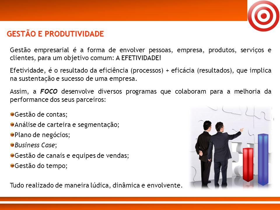 GESTÃO E PRODUTIVIDADE A EFETIVIDADE Gestão empresarial é a forma de envolver pessoas, empresa, produtos, serviços e clientes, para um objetivo comum: