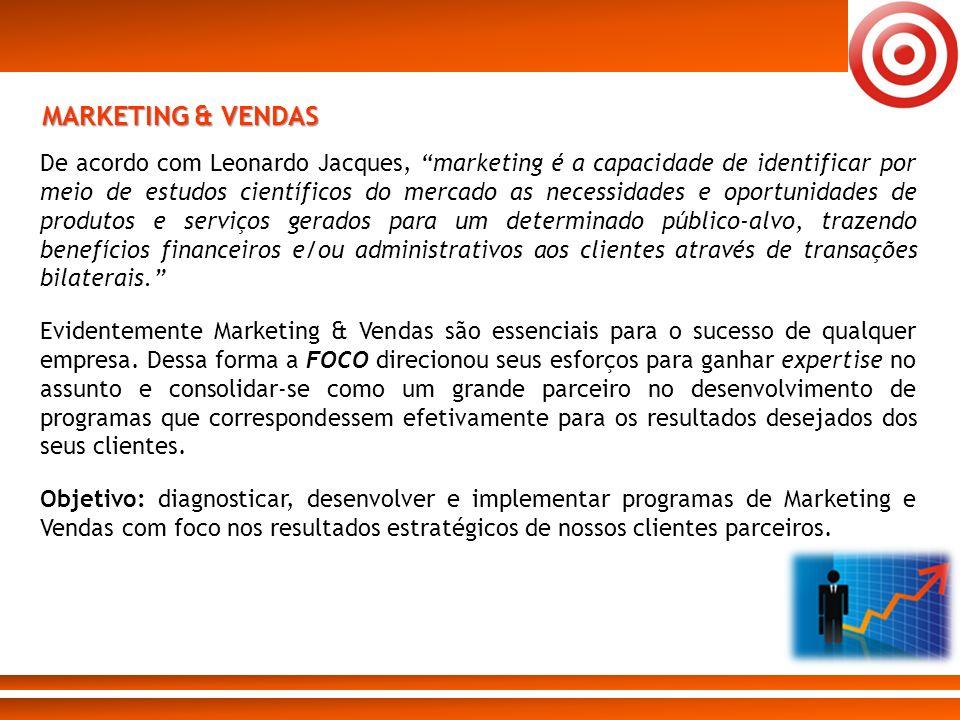 MARKETING & VENDAS De acordo com Leonardo Jacques, marketing é a capacidade de identificar por meio de estudos científicos do mercado as necessidades