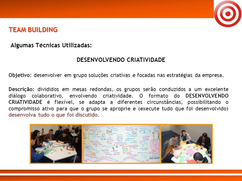 TEAM BUILDING Algumas Técnicas Utilizadas: Objetivo: desenvolver em grupo soluções criativas e focadas nas estratégias da empresa. Descrição: dividido