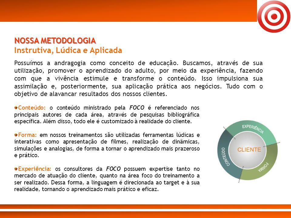 Conteúdo: o conteúdo ministrado pela FOCO é referenciado nos principais autores de cada área, através de pesquisas bibliográfica específica. Além diss