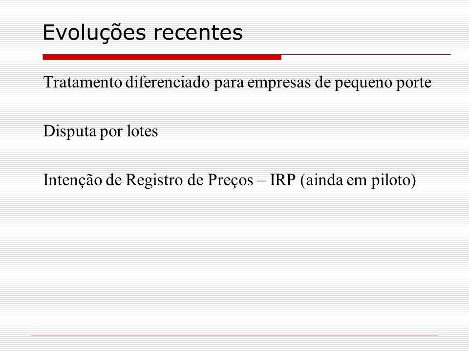Evoluções recentes Tratamento diferenciado para empresas de pequeno porte Disputa por lotes Intenção de Registro de Preços – IRP (ainda em piloto)