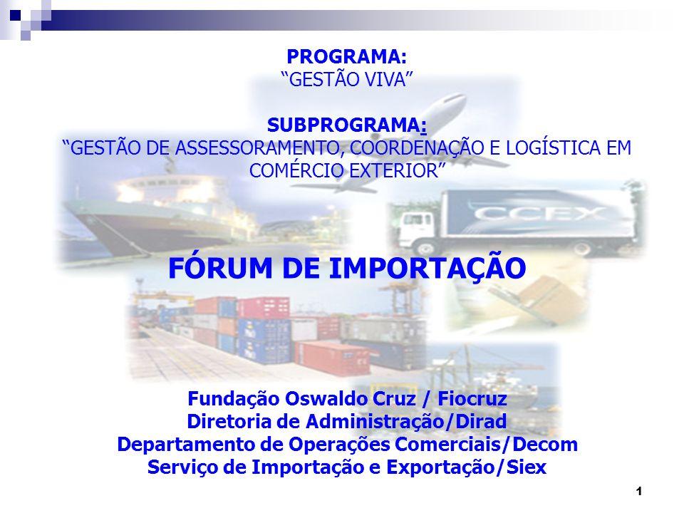 1 PROGRAMA: GESTÃO VIVA SUBPROGRAMA: GESTÃO DE ASSESSORAMENTO, COORDENAÇÃO E LOGÍSTICA EM COMÉRCIO EXTERIOR FÓRUM DE IMPORTAÇÃO Fundação Oswaldo Cruz