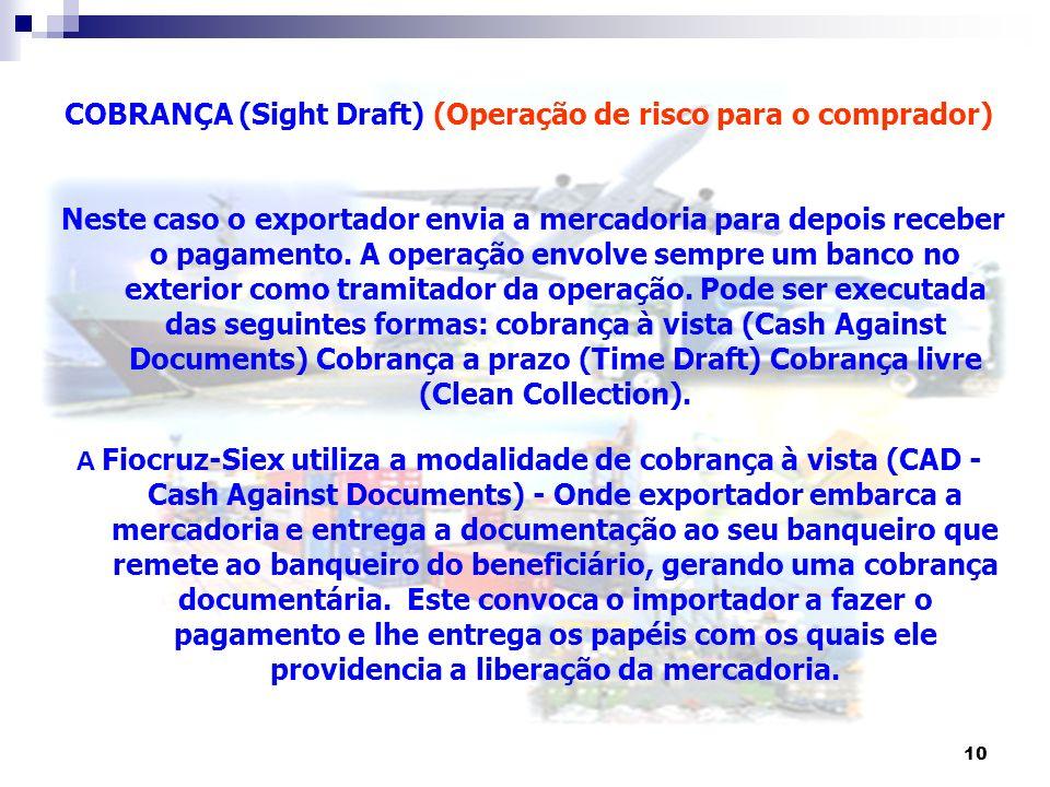 10 COBRANÇA (Sight Draft) (Operação de risco para o comprador) Neste caso o exportador envia a mercadoria para depois receber o pagamento. A operação