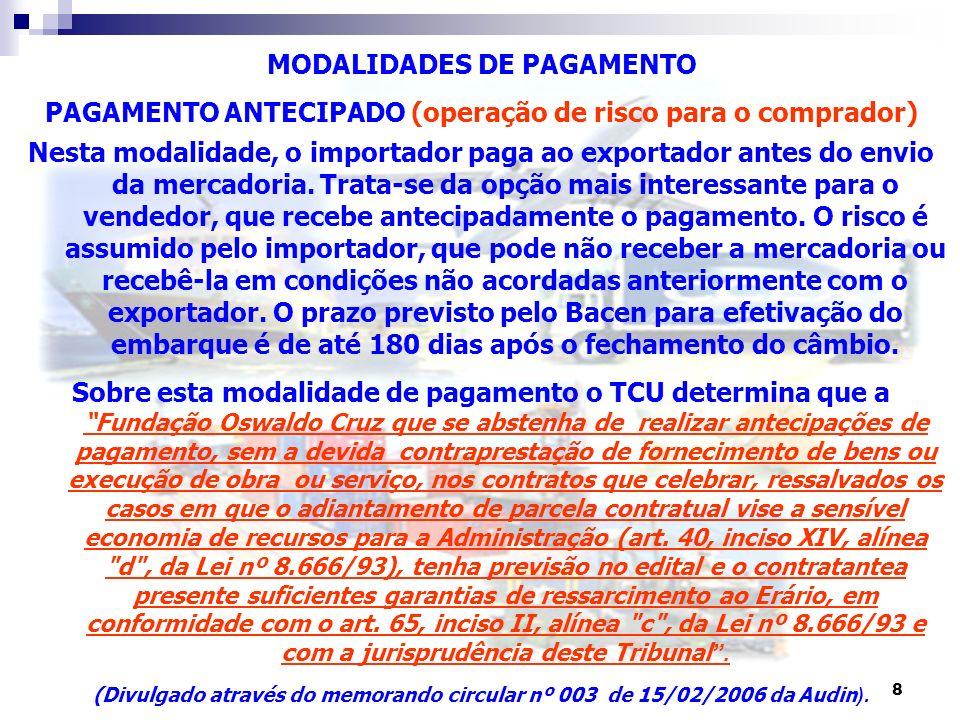 8 MODALIDADES DE PAGAMENTO PAGAMENTO ANTECIPADO (operação de risco para o comprador) Nesta modalidade, o importador paga ao exportador antes do envio