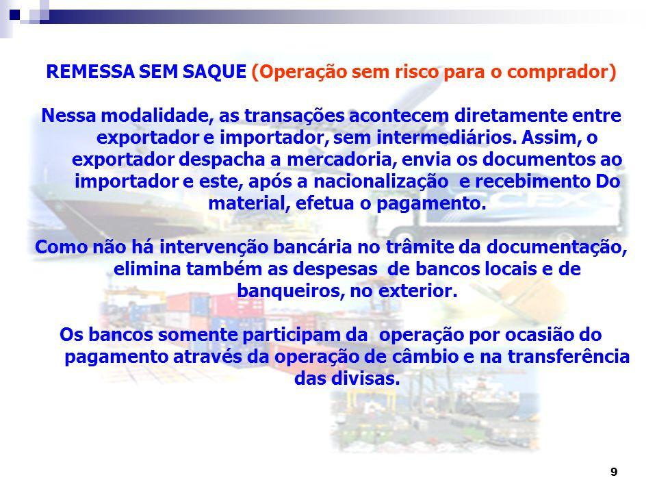 9 REMESSA SEM SAQUE (Operação sem risco para o comprador) Nessa modalidade, as transações acontecem diretamente entre exportador e importador, sem int