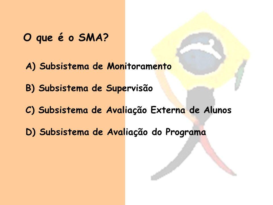 O que é o SMA? A) A) Subsistema de Monitoramento B) Subsistema de Supervisão C) Subsistema de Avaliação Externa de Alunos D) Subsistema de Avaliação d