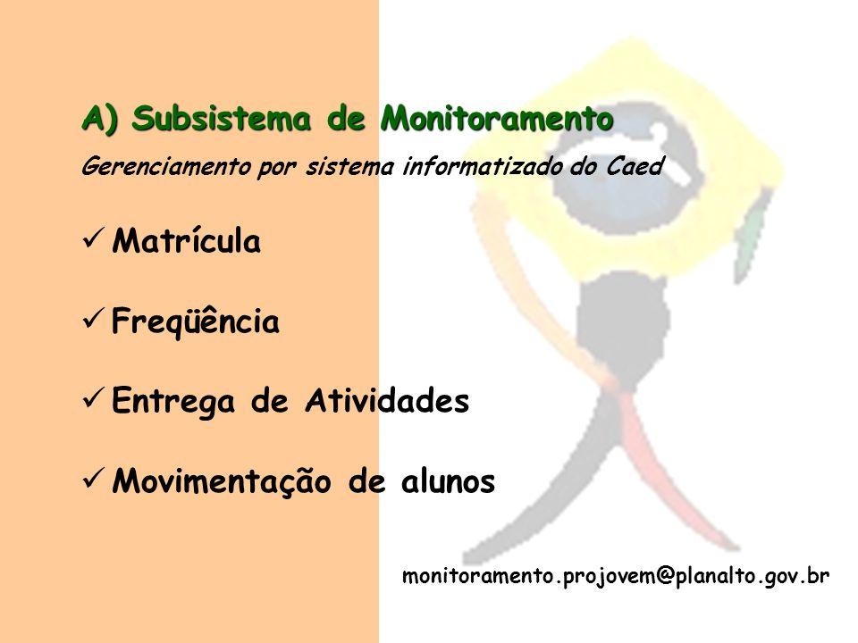 A) Subsistema de Monitoramento Gerenciamento por sistema informatizado do Caed Matrícula Freqüência Entrega de Atividades Movimentação de alunos monit