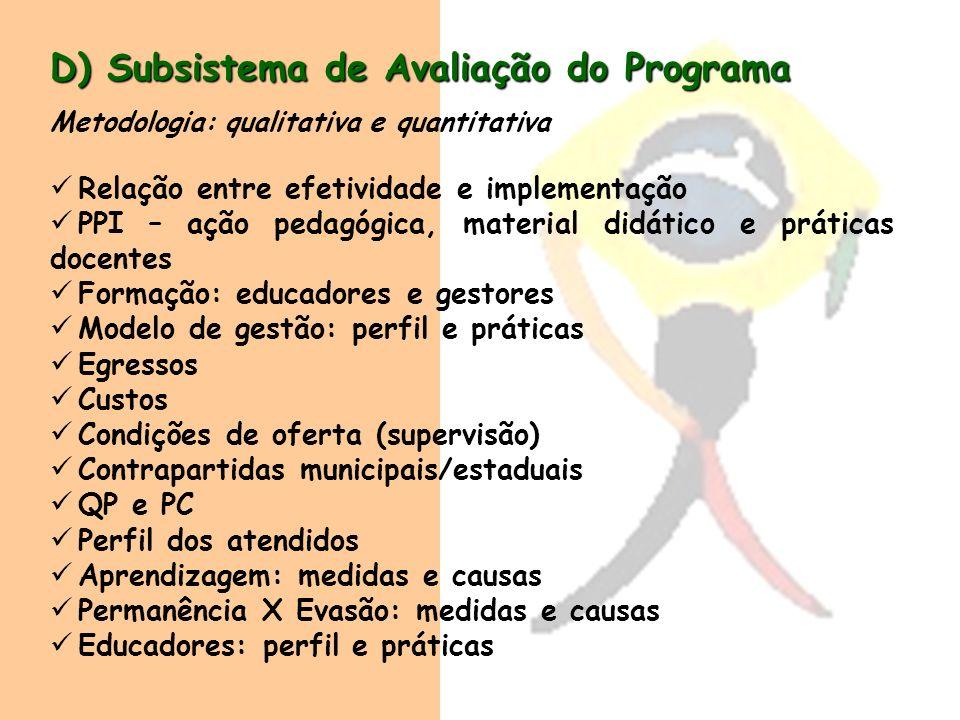 D) Subsistema de Avaliação do Programa Metodologia: qualitativa e quantitativa Relação entre efetividade e implementação PPI – ação pedagógica, materi