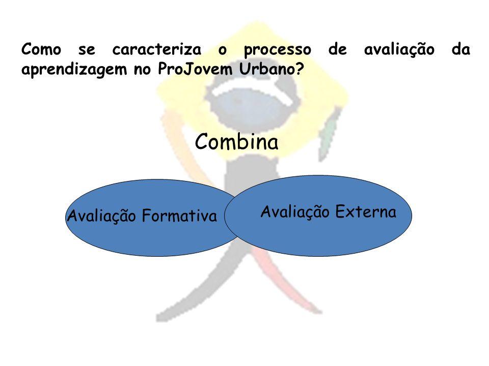 Avaliação Formativa Como se caracteriza o processo de avaliação da aprendizagem no ProJovem Urbano? Avaliação Externa Combina