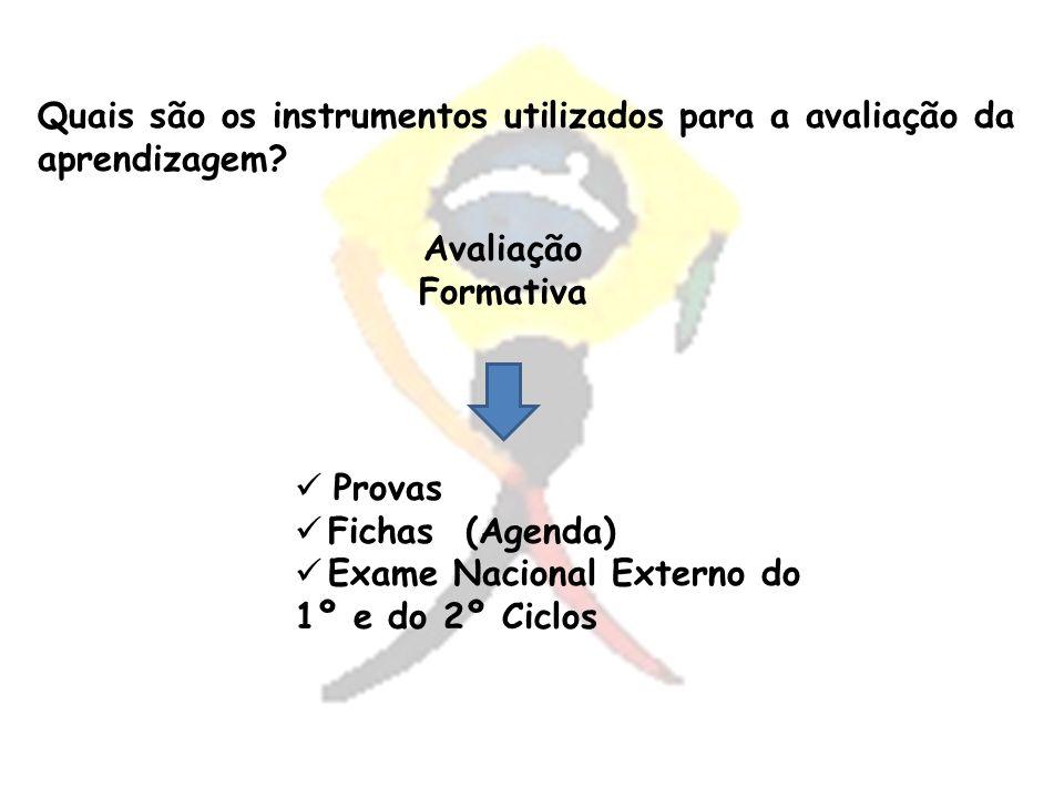 Provas Fichas (Agenda) Exame Nacional Externo do 1º e do 2º Ciclos Quais são os instrumentos utilizados para a avaliação da aprendizagem?