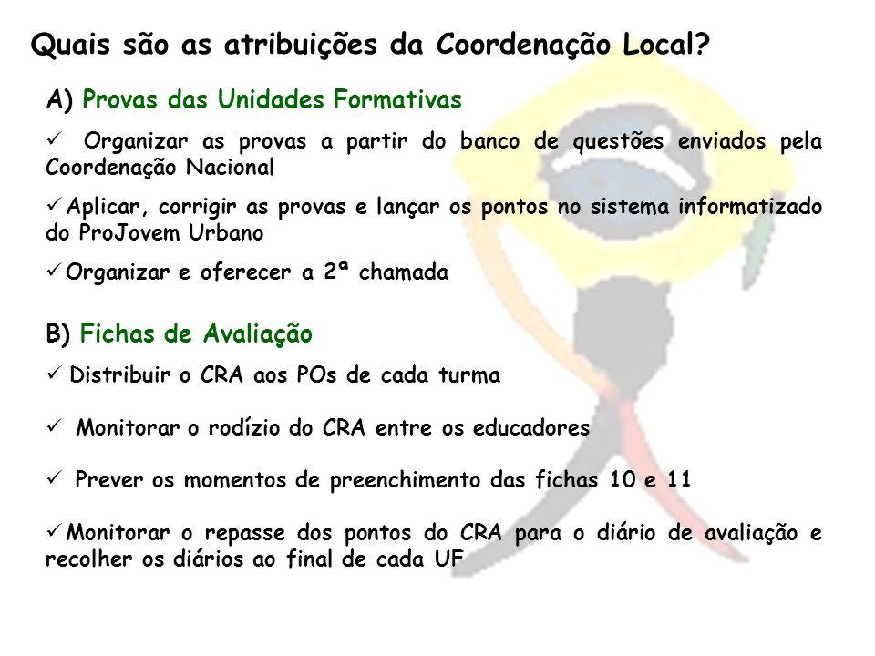 Quais são as atribuições da Coordenação Local? A) Provas das Unidades Formativas Organizar as provas a partir do banco de questões enviados pela Coord
