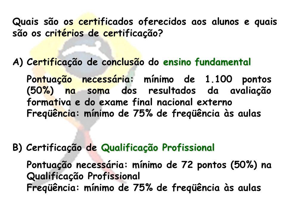 Quais são os certificados oferecidos aos alunos e quais são os critérios de certificação? A)ensino fundamental A)Certificação de conclusão do ensino f