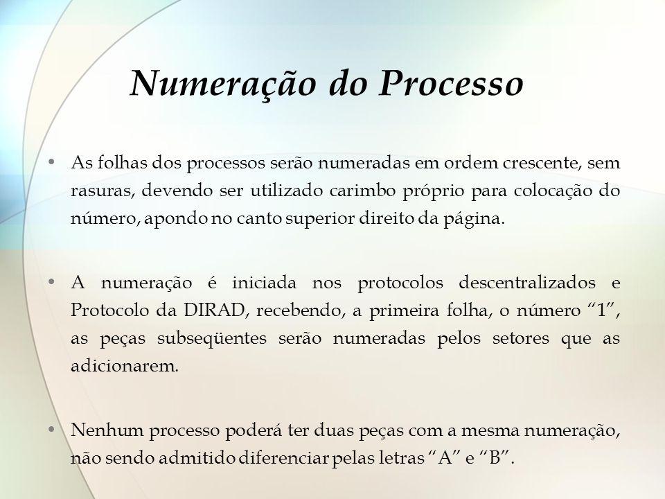 Numeração do Processo As folhas dos processos serão numeradas em ordem crescente, sem rasuras, devendo ser utilizado carimbo próprio para colocação do