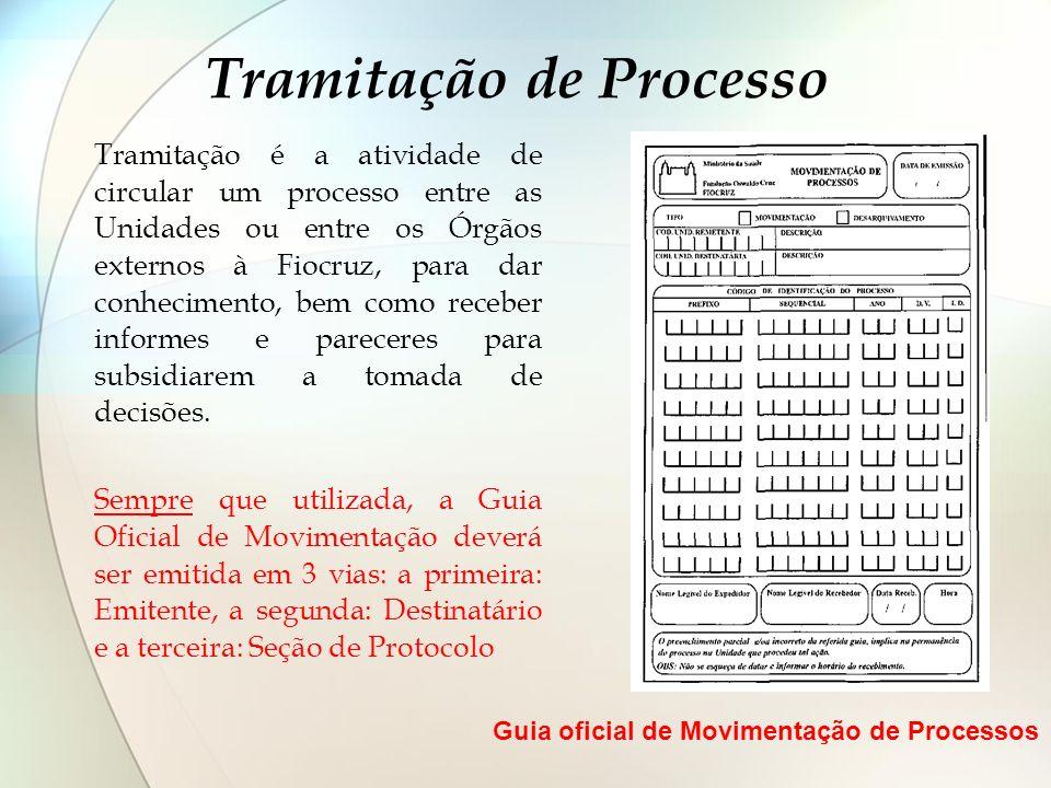 Tramitação de Processo Tramitação é a atividade de circular um processo entre as Unidades ou entre os Órgãos externos à Fiocruz, para dar conhecimento