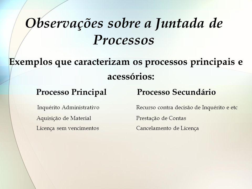 Observações sobre a Juntada de Processos Exemplos que caracterizam os processos principais e acessórios: Processo Principal Processo Secundário Inquér