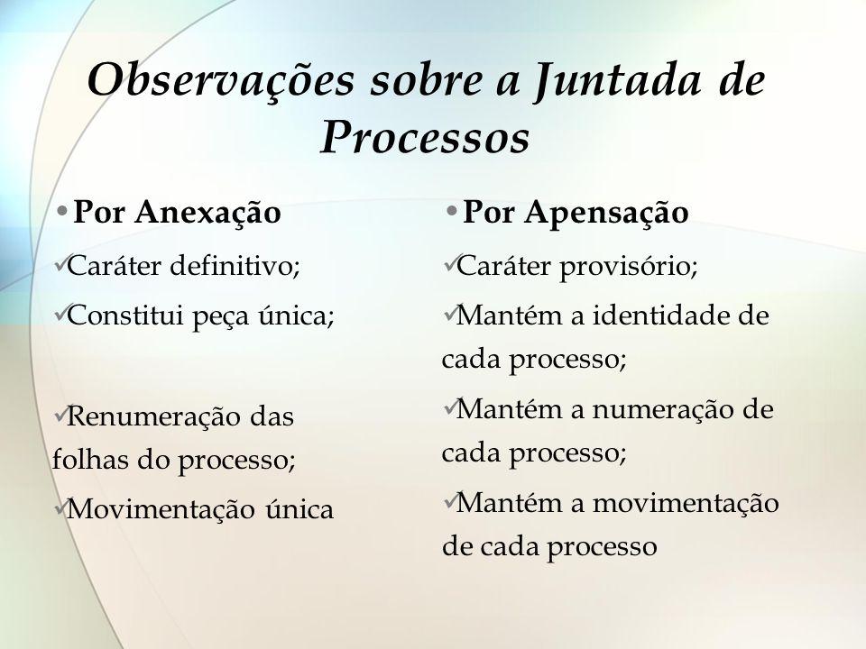 Observações sobre a Juntada de Processos Por Anexação Caráter definitivo; Constitui peça única; Renumeração das folhas do processo; Movimentação única