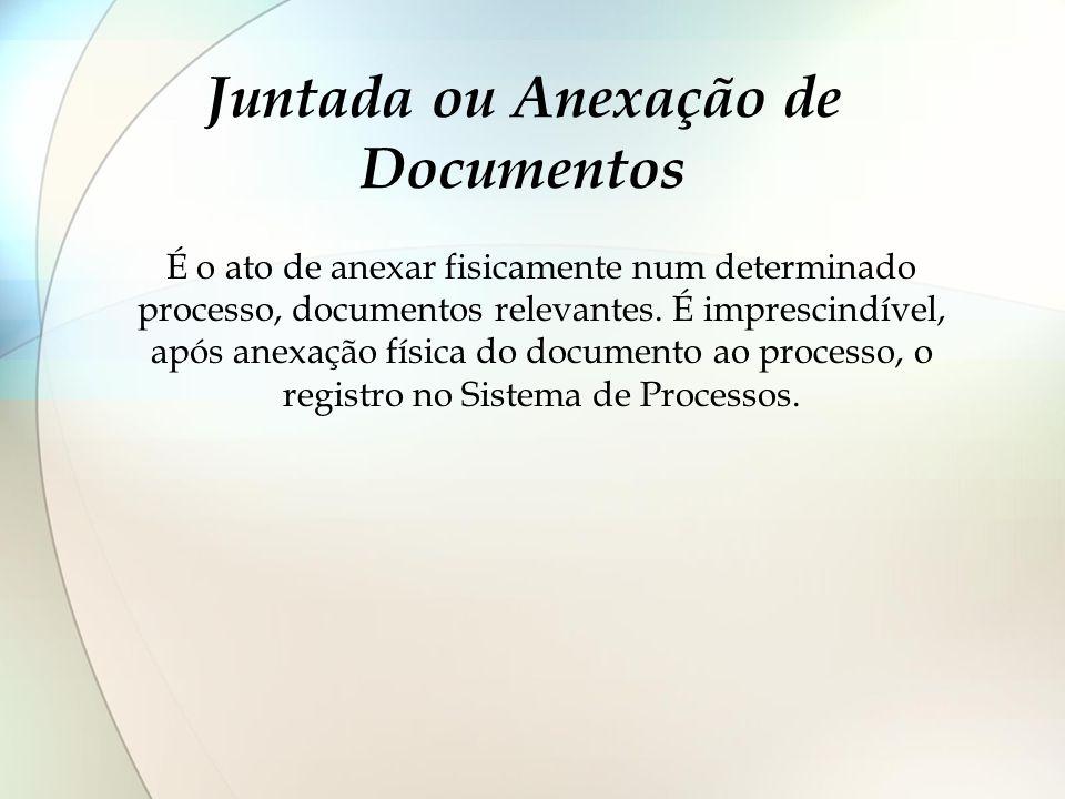 Juntada ou Anexação de Documentos É o ato de anexar fisicamente num determinado processo, documentos relevantes. É imprescindível, após anexação físic